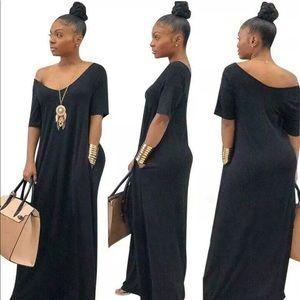 Dresses & Skirts - New Black V Cut T-Shirt Maxi Dress With Pockets